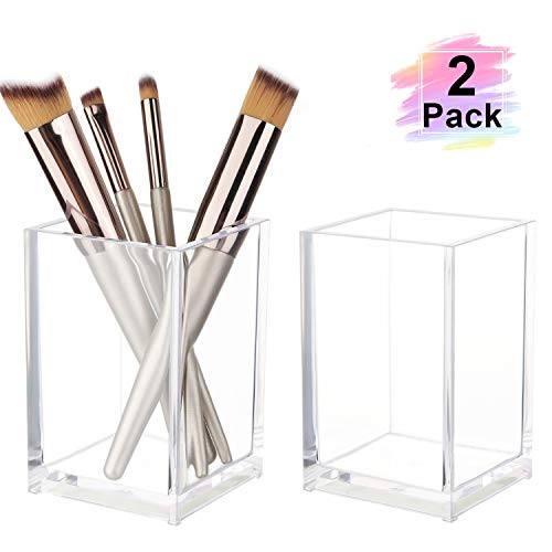 Clear Acrylic Pen Pencil Holder - Large Capacity Makeup Brush Holder Non Breakable Pencil Cup Desktop Stationery Organizer for Office School Home,2 Pack