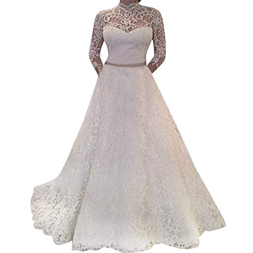 VECDY Elegante Blanco Vestido De Boda Novia De Encaje De Manga Larga para Mujer Fiesta Sexy Moda por La Noche Vestidos Largos(Blanco,M)