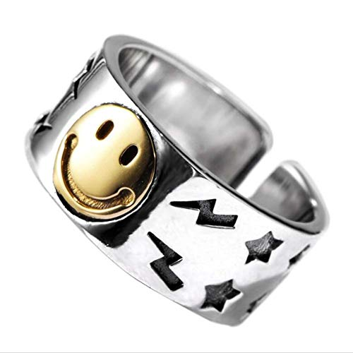 MIYUAN 925 Sterling Silver Smiley Wide Face Pentagram Open Fashion Ring (7.5)