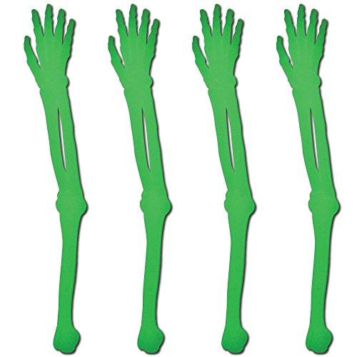Royer 6' Plastic Skeleton Arm, Glow In The Dark Swizzle Sticks, Set of 24 - Made In USA
