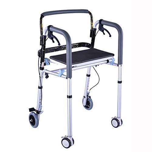 FKDEWALKER Aluminium Folding Walking Frame,Walking Mobility Aid,Walker with Seat and 4 Wheels and Brake