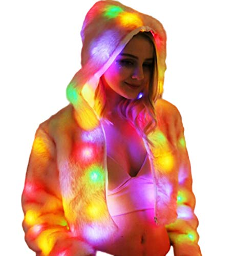 NANXCYR Kerstmis Halloween Vrouwen Faux Bont Overjas Hooded Bovenkleding Winter Jas Warm Tops Lange Mouw Jas Stage Kostuums Nachtclub Dancer Parka met LED Licht