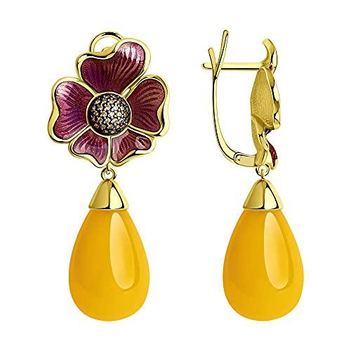 Mirkada - Pendientes de plata para mujer, chapados en oro, ámbar, esmalte y circonita, color amarillo