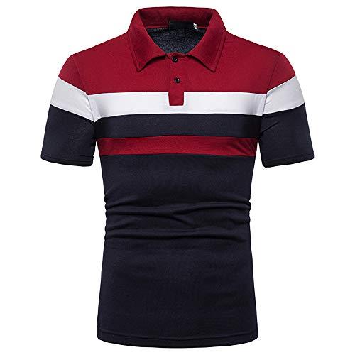 Herren Polo Shirts Kurzarm mit Kragen Polohemd, Blousonshirts mit Taste Gestreifte T-Shirt aus Baumwolle-Mix Slim Fit Hemd Lässige Sport Fitness Business Casual Shirt Herren top 2020 M