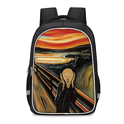 Mochila para niños 3D Edvard Munch Backpack para niños Mochila de alta capacidad DAYPACK Portable School Bolso de viaje Adecuado para niños y niñas bolsa de escuela bolso de la escuela al aire libre e