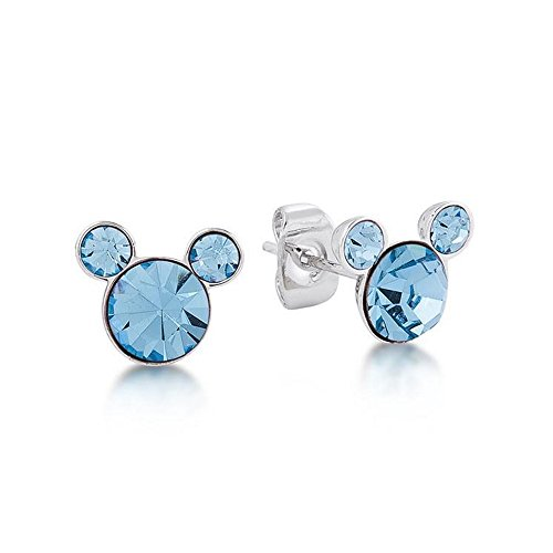 Disney Couture Kingdom - Pendientes con piedra de nacimiento de Mickey Mouse de cristal aguamarina de marzo