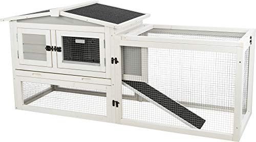 TRIXIE Natura Insulated Rabbit Hutch with Peaked Roof, Extra Small, with Integrated Outdoor Run, Gray, 2-Story with Ramp, Hinged Roof with Locking Arms, for Rabbits or Guinea Pigs