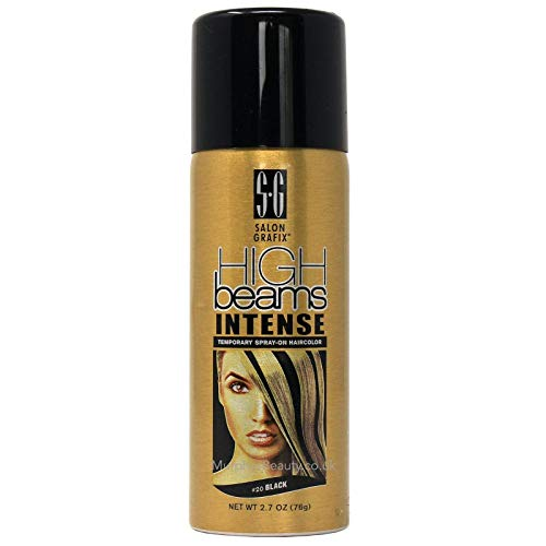 High Beams Intense Temporary Spray On Hair Color - #20 Black Aerosol 2.7 oz. Kansas