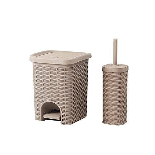 FZYE Cubo de Basura con Pedal y Tapa con Efecto de Mimbre de ratán para Cocina, baño, Oficina, Cubo de Basura con Cesta, 10 x 10 x 12,6 Pulgadas (Color: Caqui)
