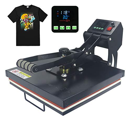 RoyalPress 15' x 15' Color LED Industrial-Quality Digital Sublimation Heat Transfer Machine T-Shirt Heat Press Machine, 15' x 15', Black