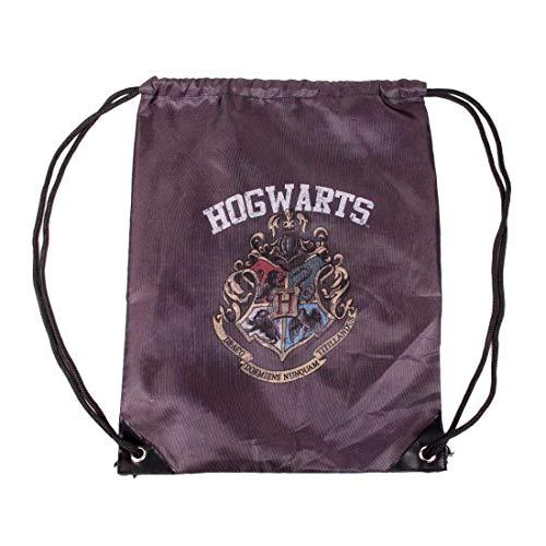 Harry Potter Sling Bag Unisex gymtas - Hogwarts wapen logo (zwart)
