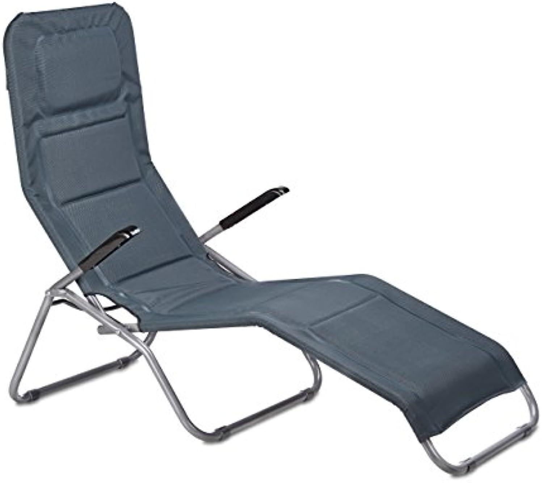 Relaxdays Bderliege klappbar grau, Metall, Kunststoff Textil, HxBxT  110 x 75 x 135 cm, Garten, Kippliege, anthrazit