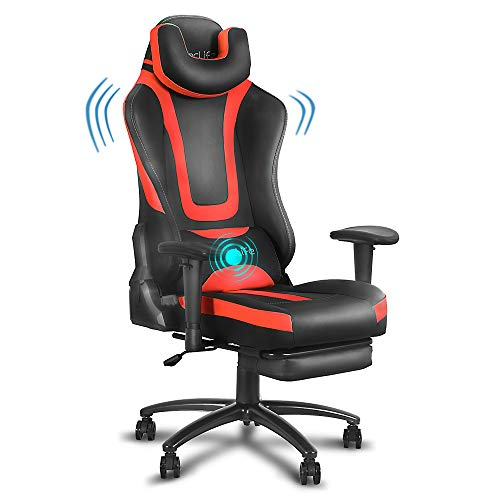 eclife Video Gaming Chair,Ergonomic Racing Task Chair,PU Leather Computer Desk Chair,Recliner W/Massage Lumbar Support Footrest Headrest Armrest Rolling Swivel Office Chair (Red)