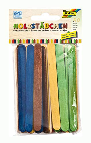 folia 2290 - Holzstäbchen zum Basteln, Eisstäbchen, 114 x 10 x 2 mm, 50 Stück, 25x natur und 25x farbig sortiert, flach mit abgerundeten Enden - für vielfältige Bastelarbeiten