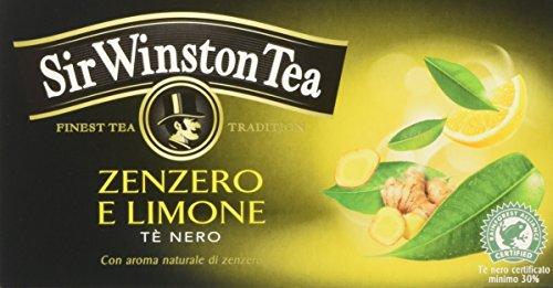 Sir Winston Tea Infusione per Bevande Calde, Zenzero Limone RFA - 20 filtri - [confezione da 3]