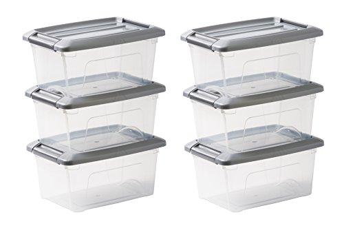 IRIS OHYAMA stapelbare Aufbewahrungsboxen mit Klickverschluss, Plastik, transparent, Grau Deckel , 5L, 6er Set