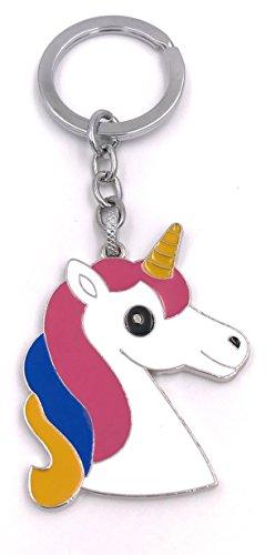H-Customs Unicornio Unicornio plana blanco colorido melena llavero colgante de metal