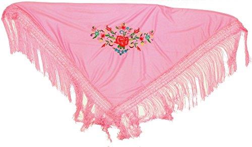 Manila-mantel (Pico). Kleur: roze, afmetingen: 110 x 50 cm. (franjes 17 cm). Afmetingen niet bij de levering inbegrepen. Het borduurwerk heeft 28 x 15 cm nodig.