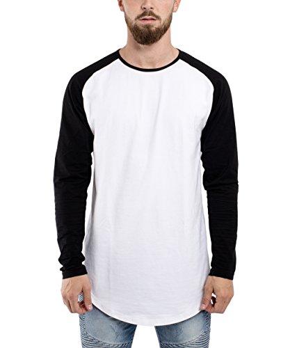 Blackskies Baseball Longsleeve T-Shirt   Langes Oversize Fashion Basic Langarm Raglan Herren Longshirt Long Tee Melliert - Weiß-Schwarz Large L