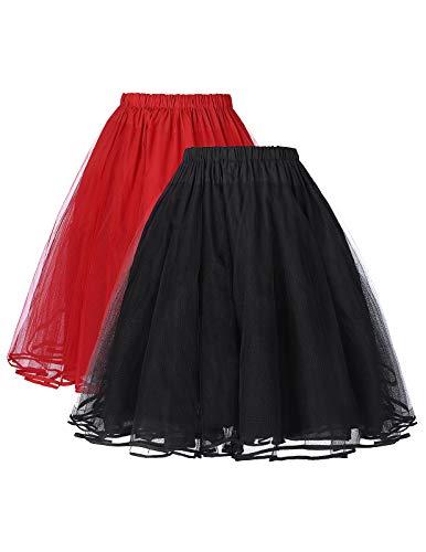 Belle Poque schwarz+rot Unterrock für 50s Vintage Rockabilly Kleid 1950 Petticoat Reifrock Underskirt M ZHXS85-3