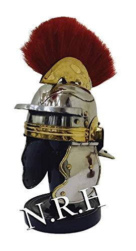 Nautical Replica Hub Casco romano de armadura medieval con pluma roja con soporte de madera negro para decoración de mesa para el hogar y la oficina