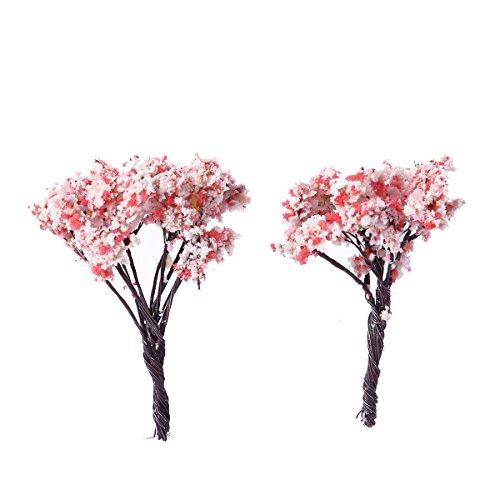 supvox fábrica Artificial Mini Faux Sakura árbol falso Verdure para la decoración de fiesta de la casa interior planta verde pequeño Bonsai salón pastoral oficina gráfico simulación flor 10pcs