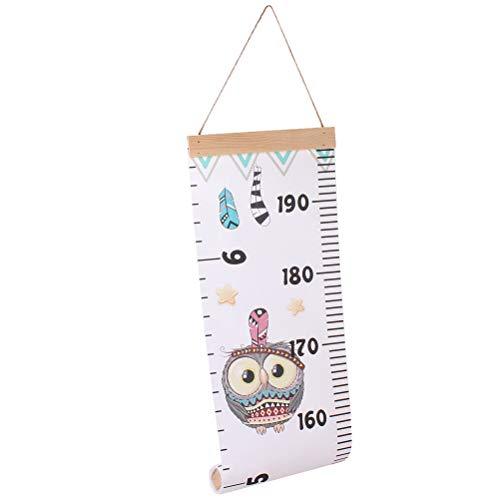 Toyandona Messlatte für Babys, Lineal, Wandaufhängung, Wachstumsdiagramm, Lineal, Raumdekoration für Kinder, Kleinkinder, Mädchen, Jungen, 200 x 21 x 0.5cm Owl 2