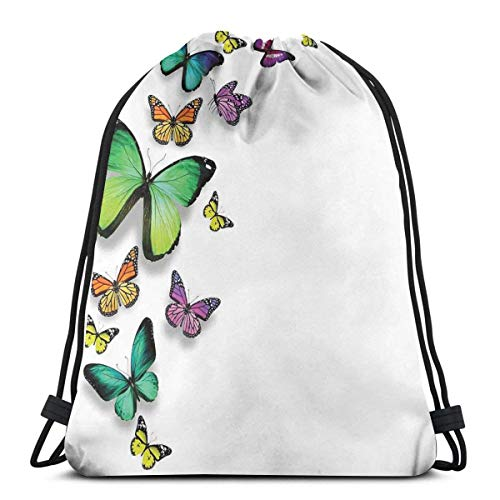 Odelia Palmer Mochilas Estampadas con cordón, Mariposas de Diferentes tamaños sobre Fondo Liso, Naturaleza Salvaje, decoración Bohemia gráfica
