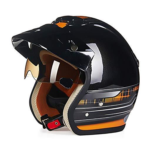 Stella Fella Cascos para hombre negro brillante naranja ABS casco de bicicleta para adultos montar a caballo casco de motocicleta casco de bicicleta de montaña al aire libre (tamaño: M)