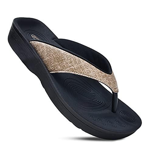 AEROTHOTIC Women's Comfortable Orthotic Flip-Flops Sandal (US Women 8, Mellow Brown)