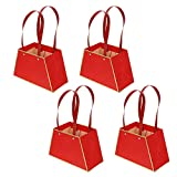 HEALLILY 4 Unidades de Bolsas de Regalo para Ramo de Flores Bolsas de Papel para Ramo con Asas para Suministros de Embalaje para Floristería