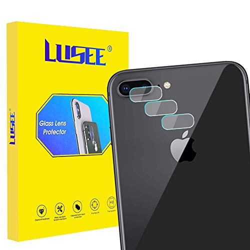 Lusee 3 Piezas Cristal Templado Lente Cámara para iPhone 8 Plus Alta Definición Ultra Clara 2.5D Protector Cámara Trasera Lente Película de Pantalla