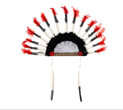 Indiase hoed - kap - veren - indianen - vermomming - accessoires - halloween - carnaval - volwassenen - kinderen