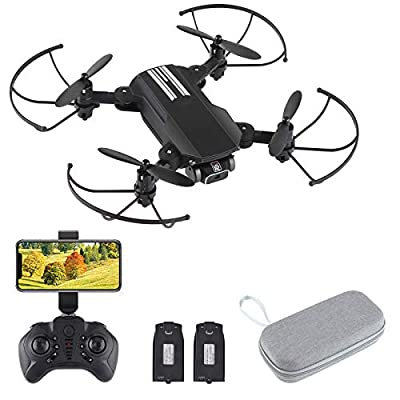 PinBoTronix FPV WiFi Drone with 4K Camera, Wide Angle Dual 4K Camera Foldable Drone RC Quadcopter with LED Optical Flow Positioning Altitude Hold Headless Mode