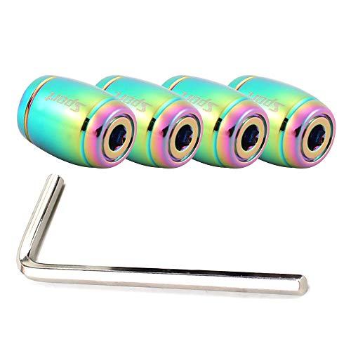 YEXIANG 1set Fashion Moda Aleación de Zinc Anti-Robo Deporte Coche Válvula Tapa Neumáticos Rueda Neumático Tallo Tapa de Aire Barra de Air Portada para el Estilo de automóvil (Color : Colorful)