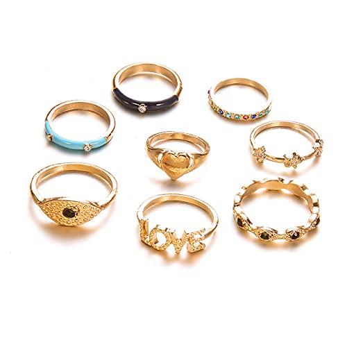 Denluns 8 Pcs Juego de Anillos Mujer Oro Tous de Dedo Conjunto exagerado combinación de Piedras Preciosas Anillos Traje de la joyería para Mujeres niñas Paquete
