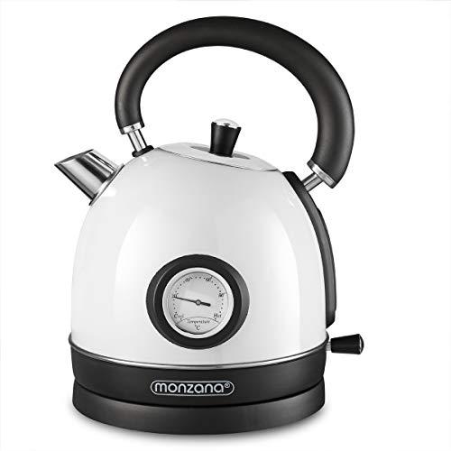 Monzana Wasserkocher 1,8 L Edelstahl Teekocher 2200W Retro Design Kabellos BPA frei Wasserkessel Überhitzungsschutz Weiß