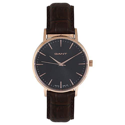 Gant Unisex Erwachsene Analog Quarz Uhr mit Leder Armband GT081004