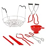 Canning Kit for Beginners | 7-Piece Set Ball Canning Kit Tools Includes steaming rack,Jar Lifter, Jar Wrench,Canning Funnel,Kitchen Tongs, Bubble Remover, Magnetic lid lifter