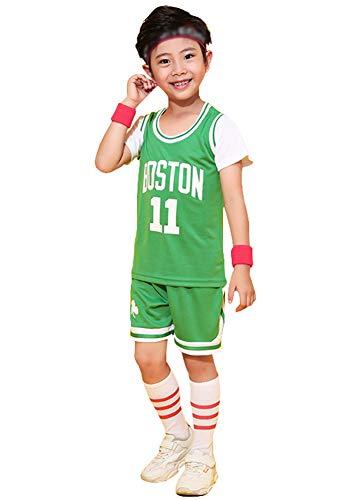 Chalecos de Baloncesto Bordados Boston Celtics # 11 Irving para niño Niña, Top y Pantalones Cortos Conjunto de 2 Piezas Ropa Deportiva Correr Jersey de Baloncesto-Green-XXXS