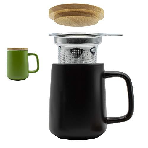 OXO Teetasse Groß 500ml Jumbotasse Keramik Tasse + Deckel und Sieb Teebecher XXL Mug Teacup Schwarz | Edelstahlsieb für Grünen, Ingwer oder losen Tee | Als Geschenk oder zu Hause + Camping