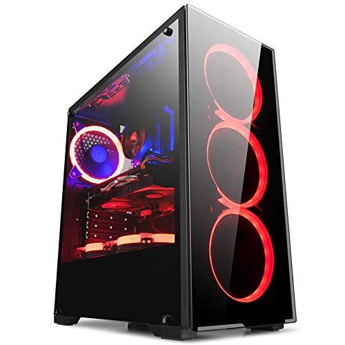 GOLDEN FIELD N17 PC-Gehäuse ATX/M-ATX/ITX Mid-Tower Gaming PC Gehaeuse Computer Gehaeuse mit Seitenfenster für Desktop Computer PC
