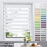 Allesin Store Enrouleur Jour Nuit sans Perçage 50 x 150 cm Blanc, Facile à Installer avec Clips pour Fenêtre ou Porte
