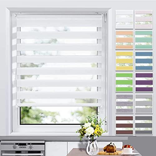 Allesin Doppelrollo Klemmfix ohne Bohren & mit Bohren, (105x140cm Weiß), Duo Rollos für Fenster und Tür, Klemmrollo Fensterrollo lichtdurchlässig und verdunkelnd, Sichtschutz und Sonnenschutz