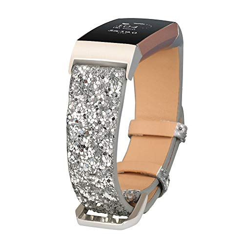 JOHIPI Bling Bands Compatible with Fitbit Charge 4/Charge 3/Charge 3 SE Band, Women Strap Shiny Glitter Leather Replacement Bands Compatible with Fitbit Charge 3/Charge 4 Fitness Tracker Wristbands
