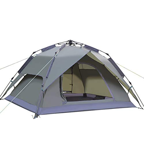 2 In1 Instant Pop Up Camping Tents for 3-4 Person Family, Quick Set up Dome Tent, Waterproof Camping Tents Rainproof Hiking Tent Bedroom Tent Sun Shelters Backpacking Tents Outdoor (Gray)