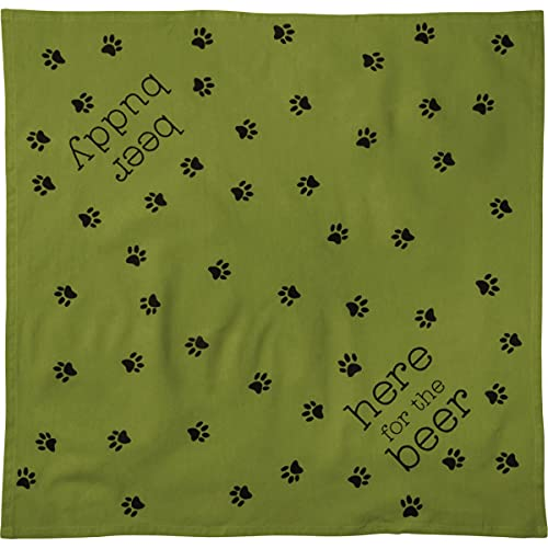 Primitives by Kathy Reversible Pet Bandana - Beer Buddy and Here for The Beer, 16' x 16' Small