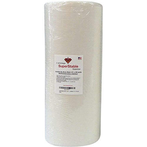 Invisible No-Show Mesh Stabilizer White 1.5 oz 15 inch x 100 Yard Roll. SuperStable Embroidery Stabilizer Backing
