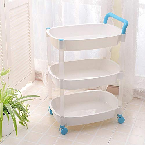 HUANXI 3-Tier Wheeled Storage Box on Wheels,Blue Plastic Vegetable Storage Rack with Ergonomic Handles for School Office Home Beauty Salon