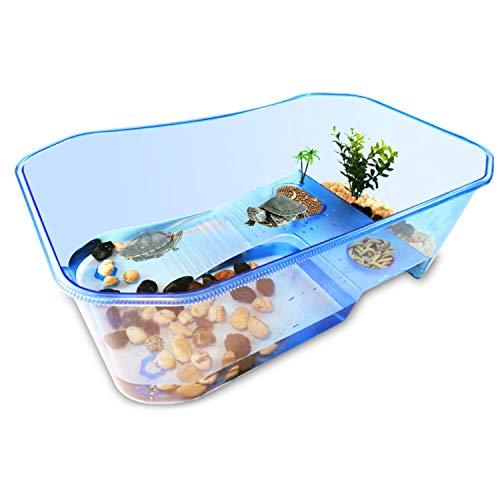 RYPET Turtle Tank Aquarium - Reptile Habitat, Turtle Habitat, Reptile Aquarium Tank for Crayfish Crab (Excluding Accessories) Blue